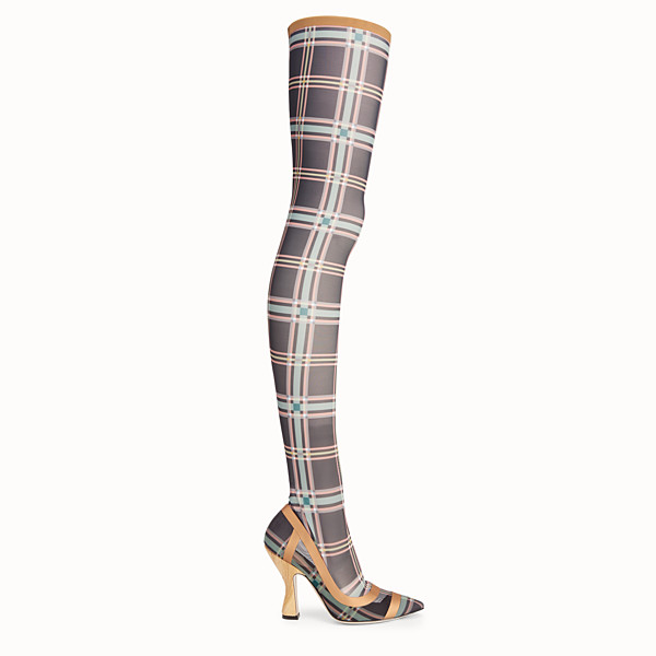 FENDI THIGH-HIGH BOOTS - Multicolour mesh and tulle boots - view 1 small thumbnail