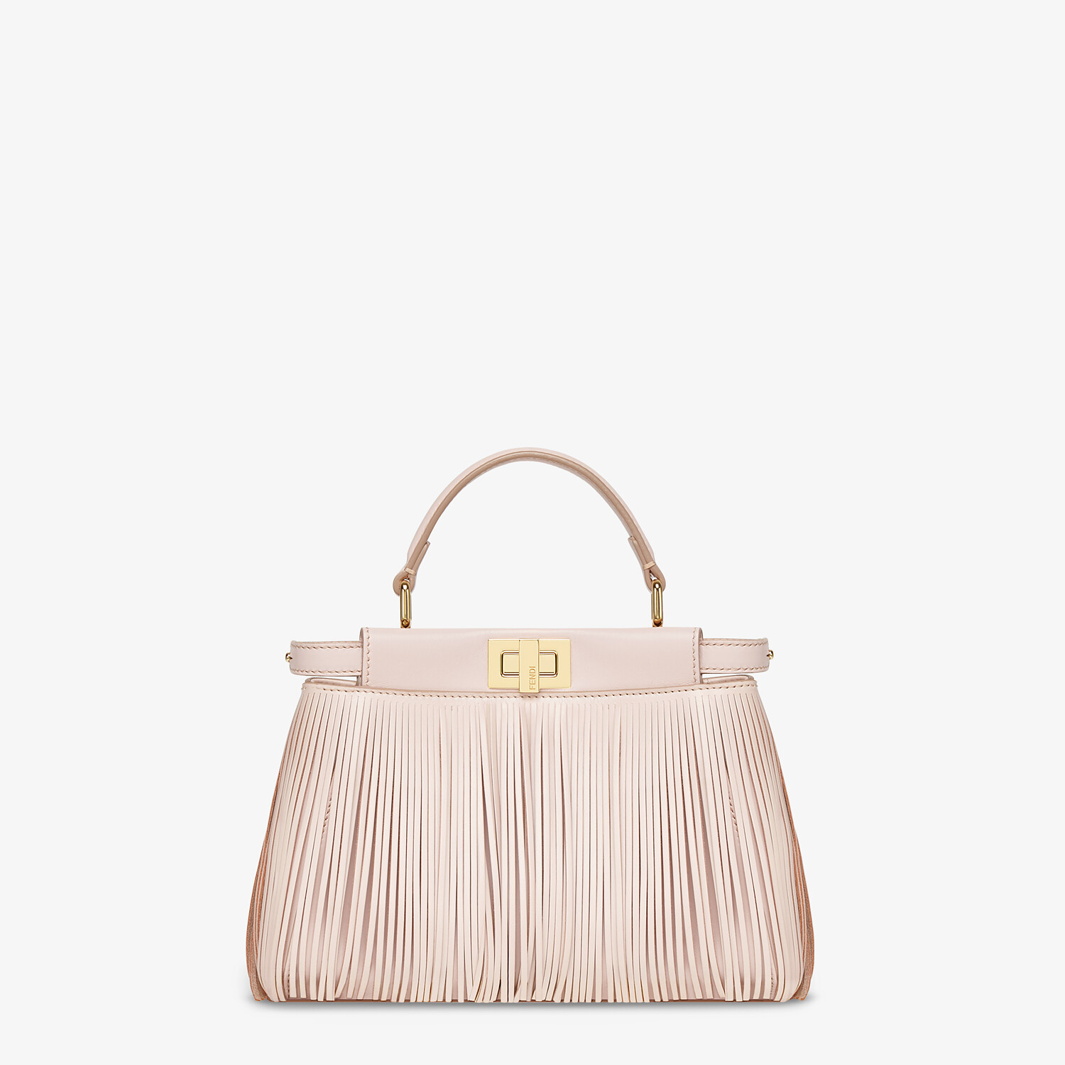 FENDI PEEKABOO ICONIC MINI - Pink leather bag with fringes - view 1 detail