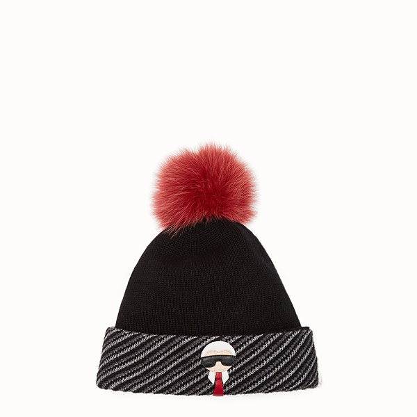 FENDI HAT - Black wool, cashmere and silk hat - view 1 small thumbnail