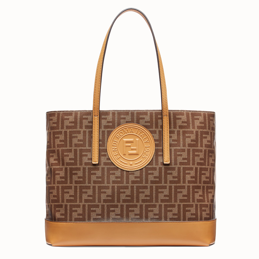 FENDI SHOPPING LOGO - Brown leather shopper - view 1 detail