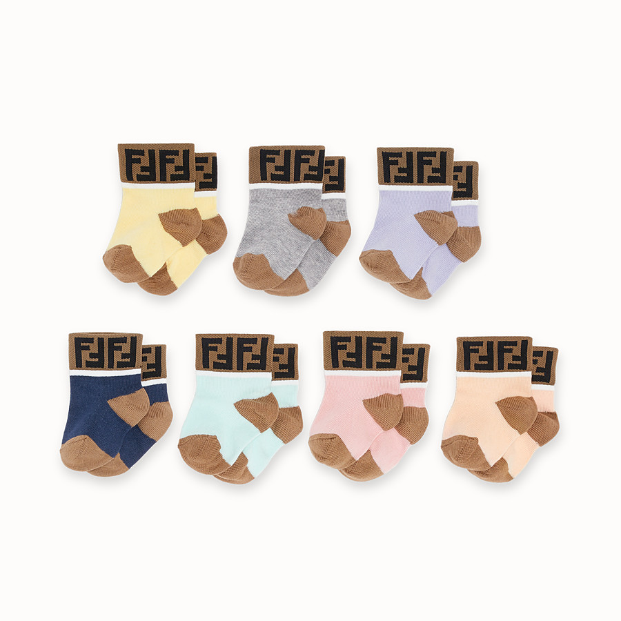 FENDI 7 PAIRS OF SOCKS - 7 pairs of multicolour cotton baby girl socks - view 1 detail