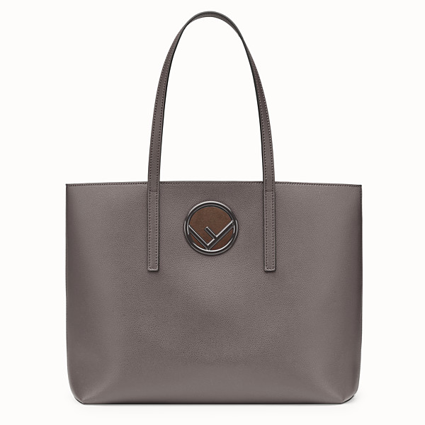 FENDI SHOPPING LOGO - Gray leather shopper - view 1 small thumbnail