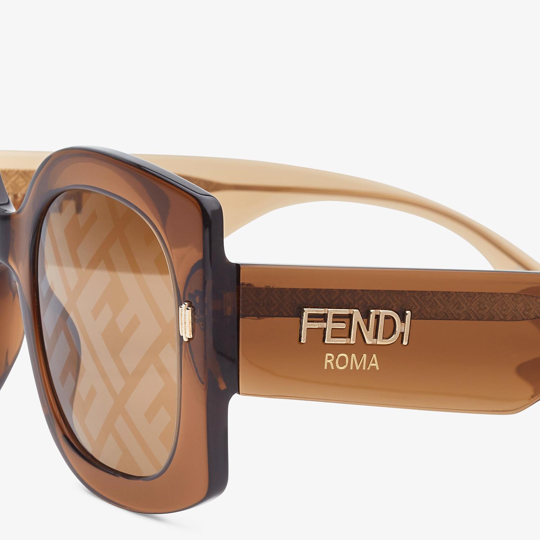 FENDI FENDI ROMA - Sunglasses in transparent brown acetate - view 3 detail