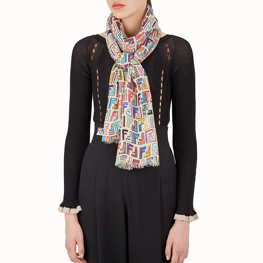 FENDI FUN FAIR MAXI STOLE - Multicolour wool and cashmere stole - view 3 detail