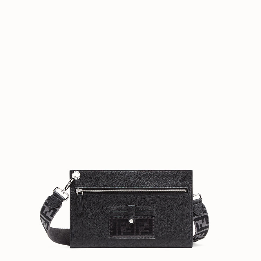 FENDI FLAT POUCH - Black leather bag - view 1 detail