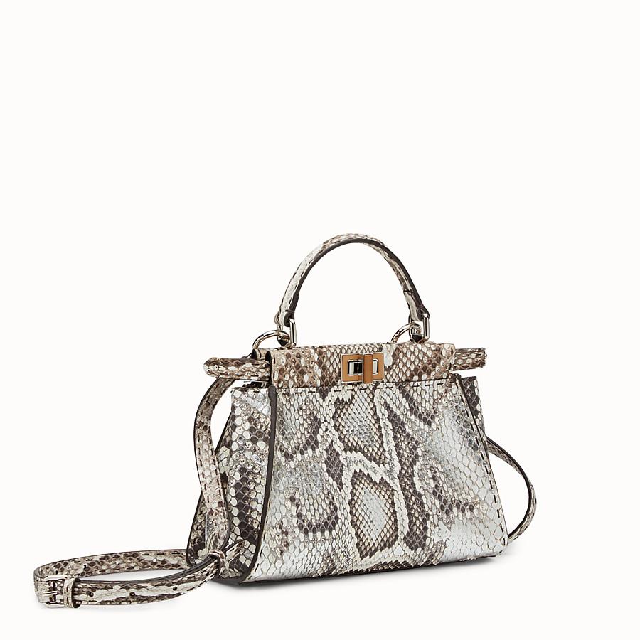 FENDI MINI PEEKABOO - 岩石色和银色蟒蛇皮手提包 - view 2 detail