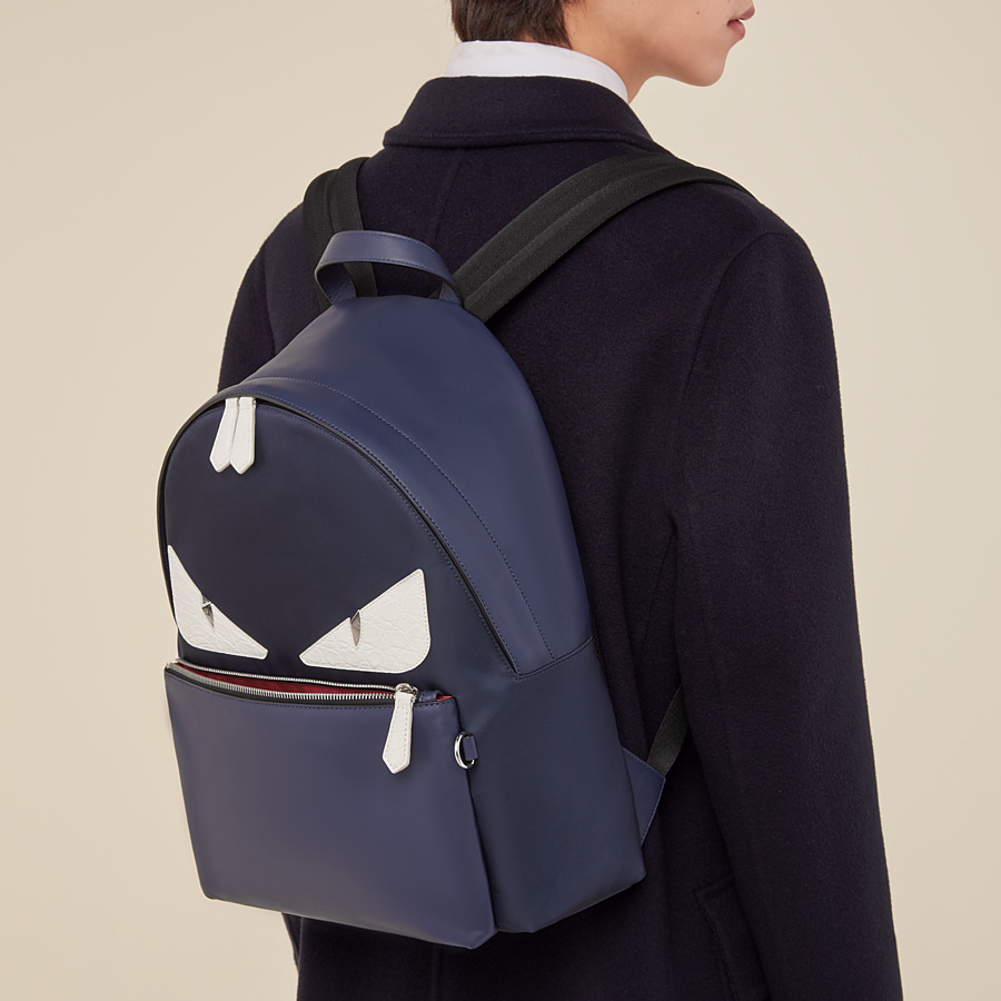 FENDI BACKPACK - Blue nylon and leather backpack - view 5 detail