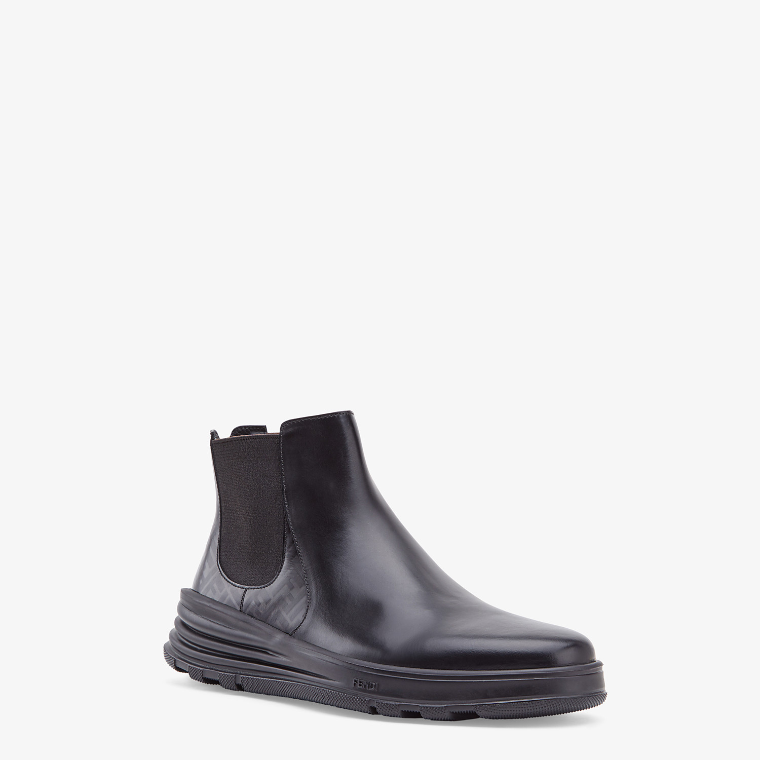 FENDI CHELSEA - Black leather ankle boots - view 2 detail