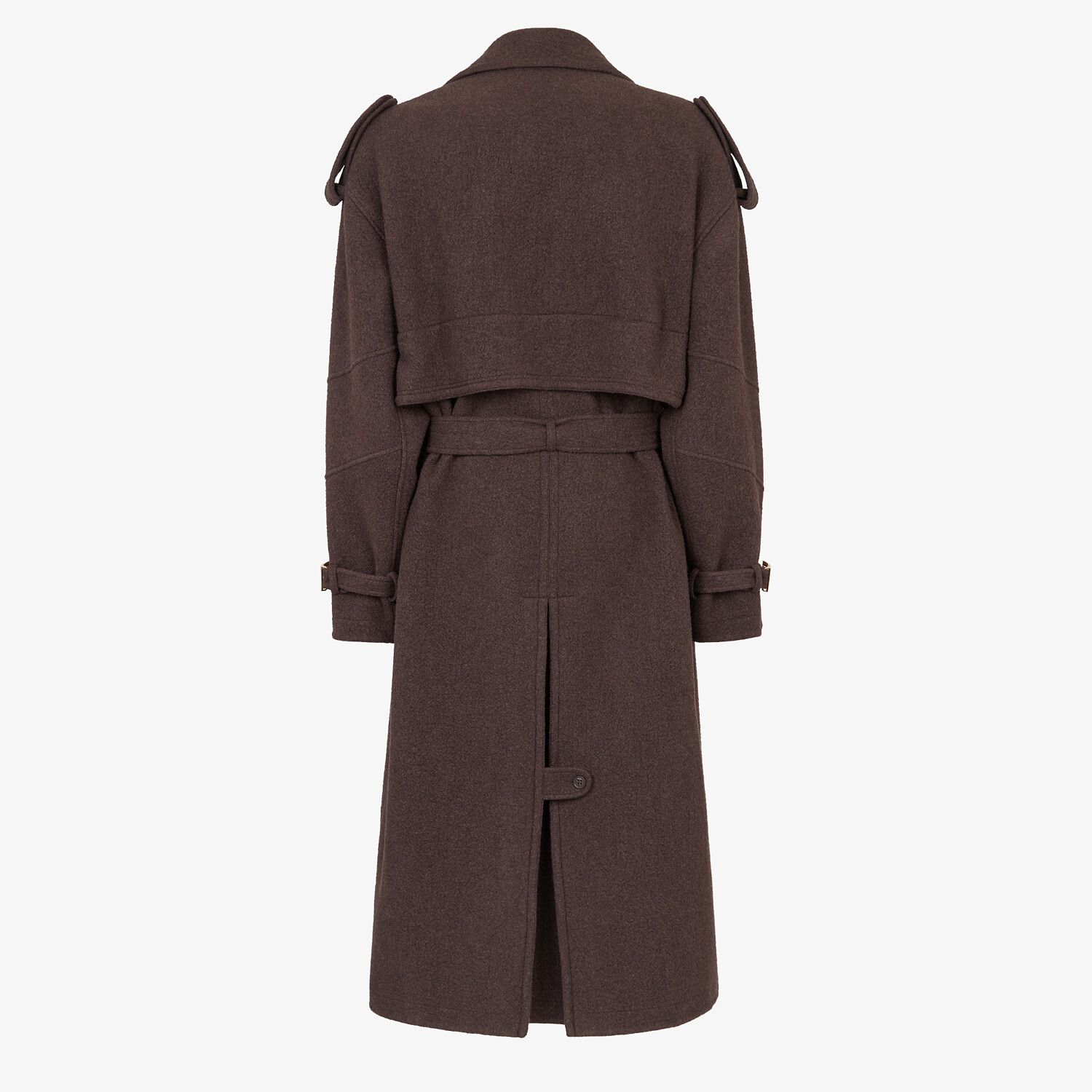 FENDI TRENCH COAT - Brown cashmere trench coat - view 2 detail