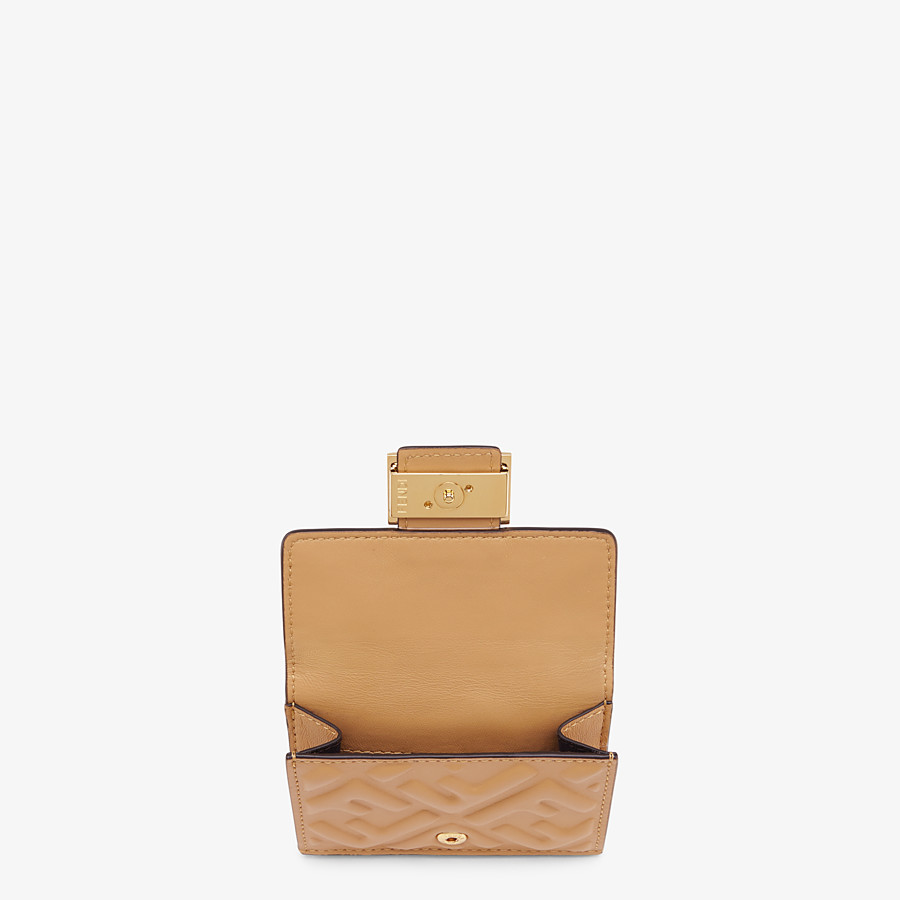 FENDI MICRO TRIFOLD - Beige nappa leather wallet - view 3 detail