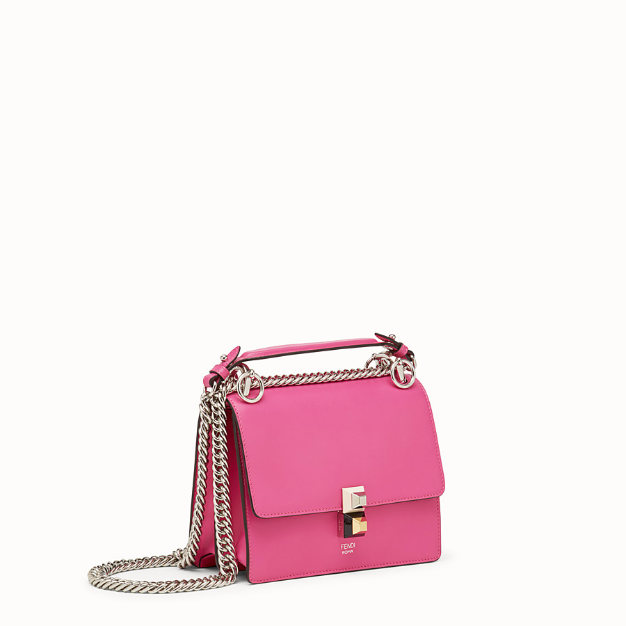 FENDI KAN I SMALL - Fuchsia leather mini-bag - view 2 detail