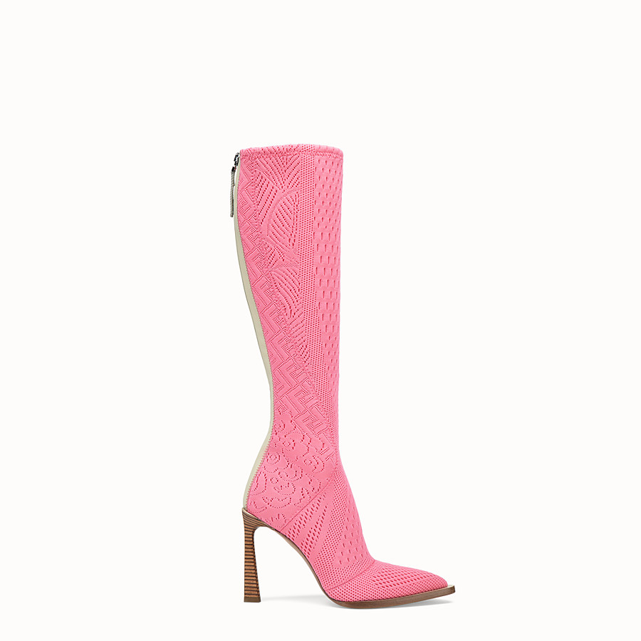 FENDI BOOTS - High-tech, pink jacquard boots - view 1 detail