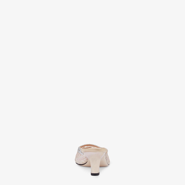 FENDI COLIBRÌ - Sabots à talon moyen en filet nude et strass brodés - view 3 detail