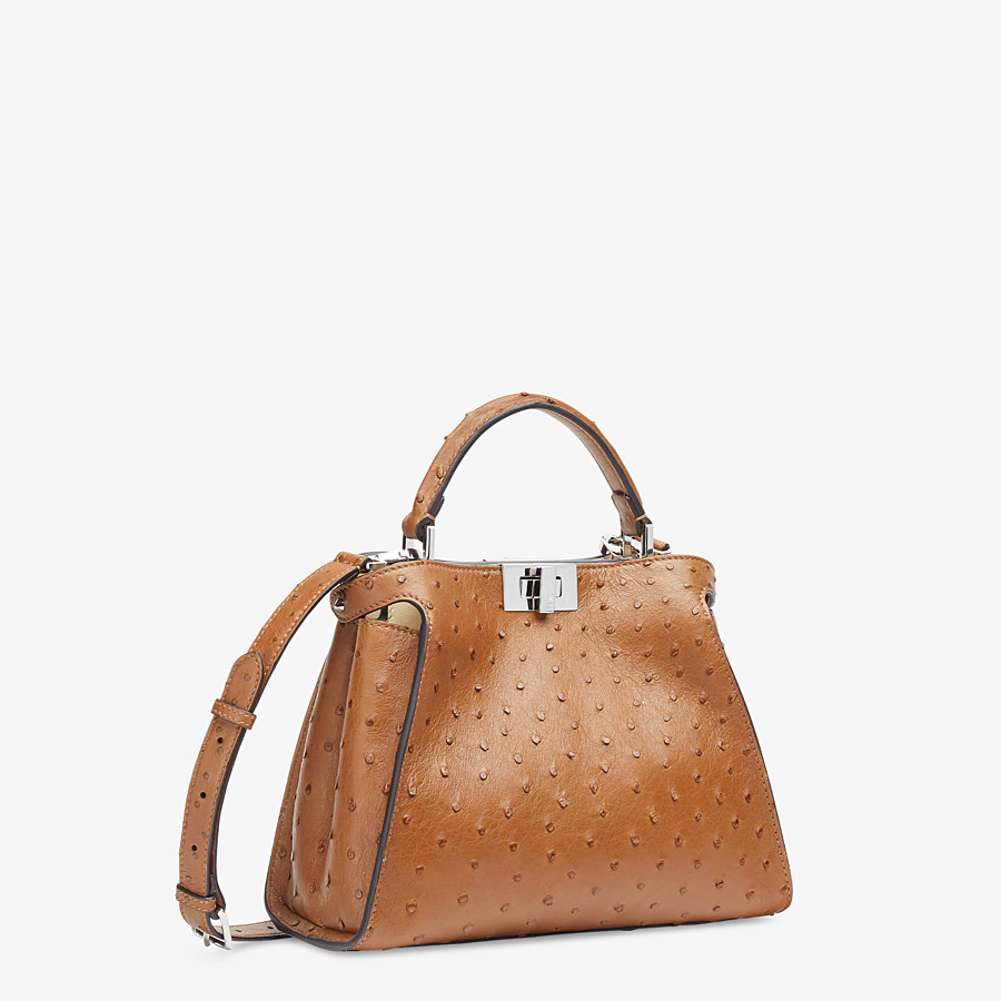 FENDI PEEKABOO ICONIC ESSENTIALLY - Brown ostrich bag - view 2 detail