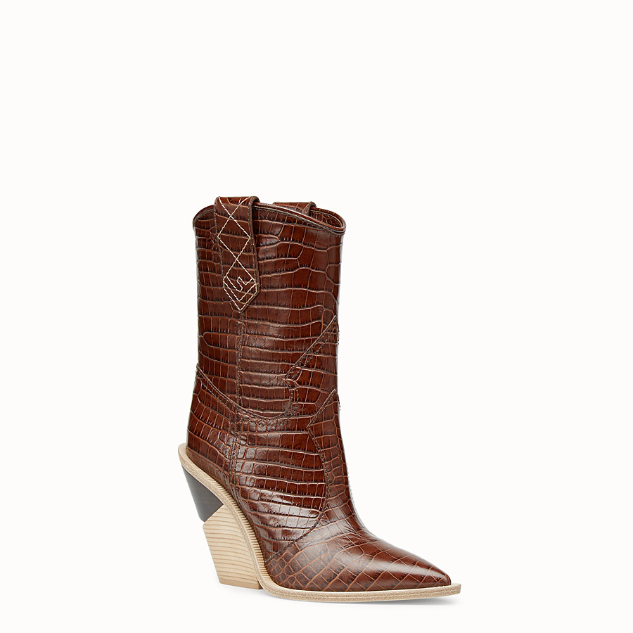 FENDI BOOTS - Brown leather ankle boots - view 2 detail