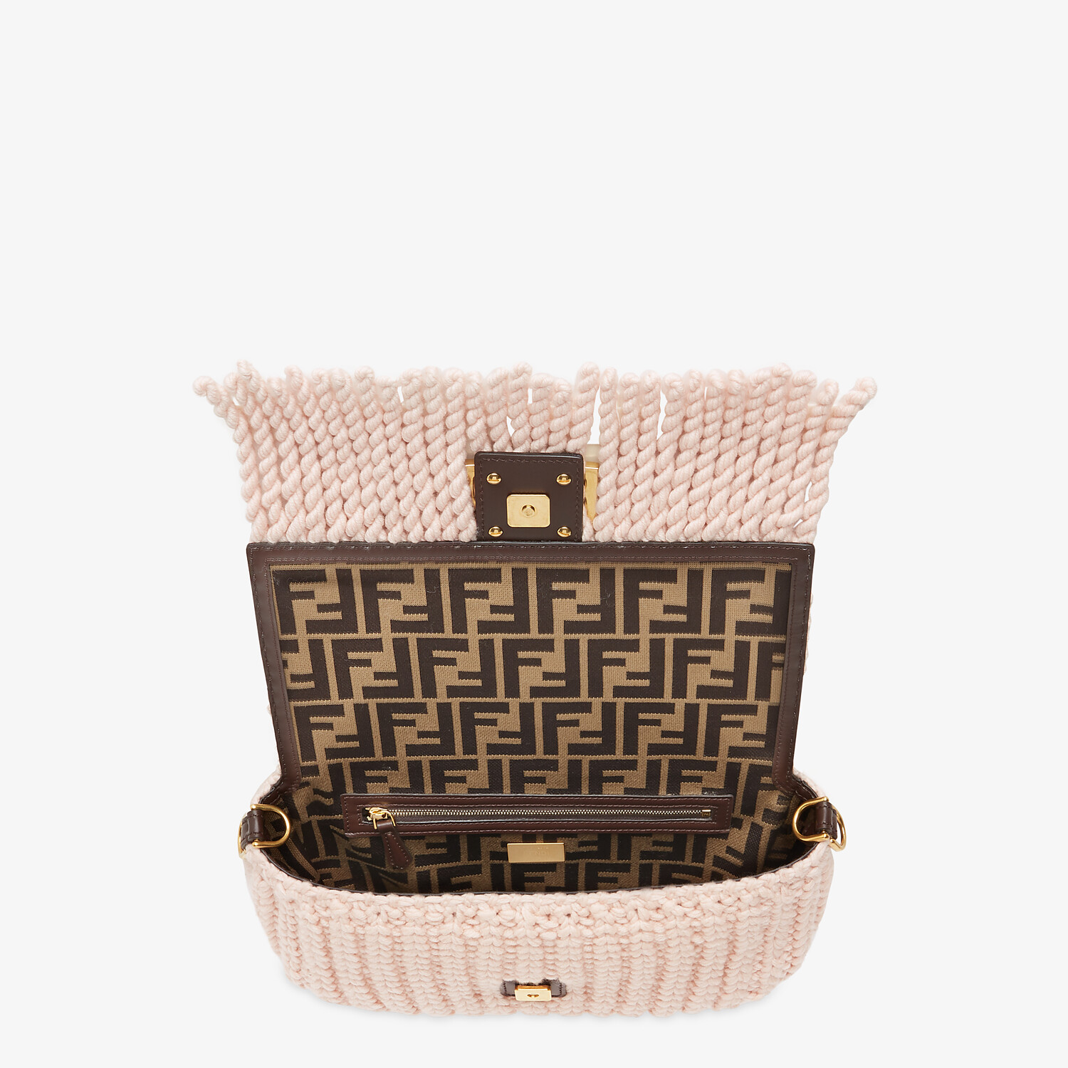 FENDI BAGUETTE - Pink wool bag with fringes - view 5 detail
