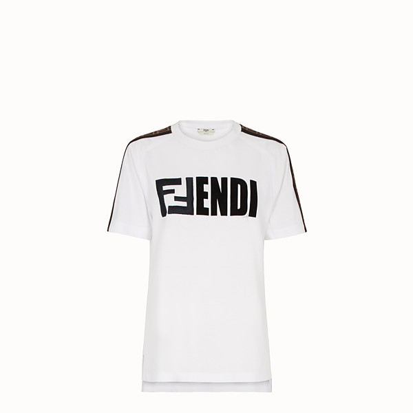 FENDI T-SHIRT - White cotton T-shirt - view 1 small thumbnail