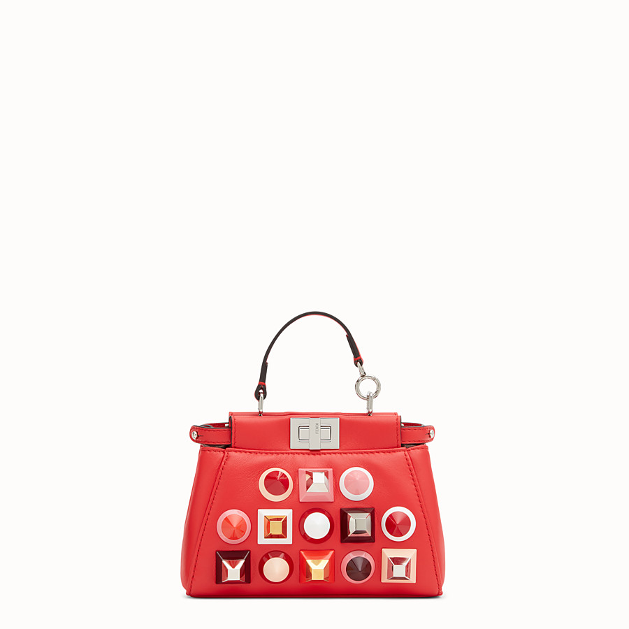 FENDI MICRO PEEKABOO - Microbag in red leather with studs - view 1 detail