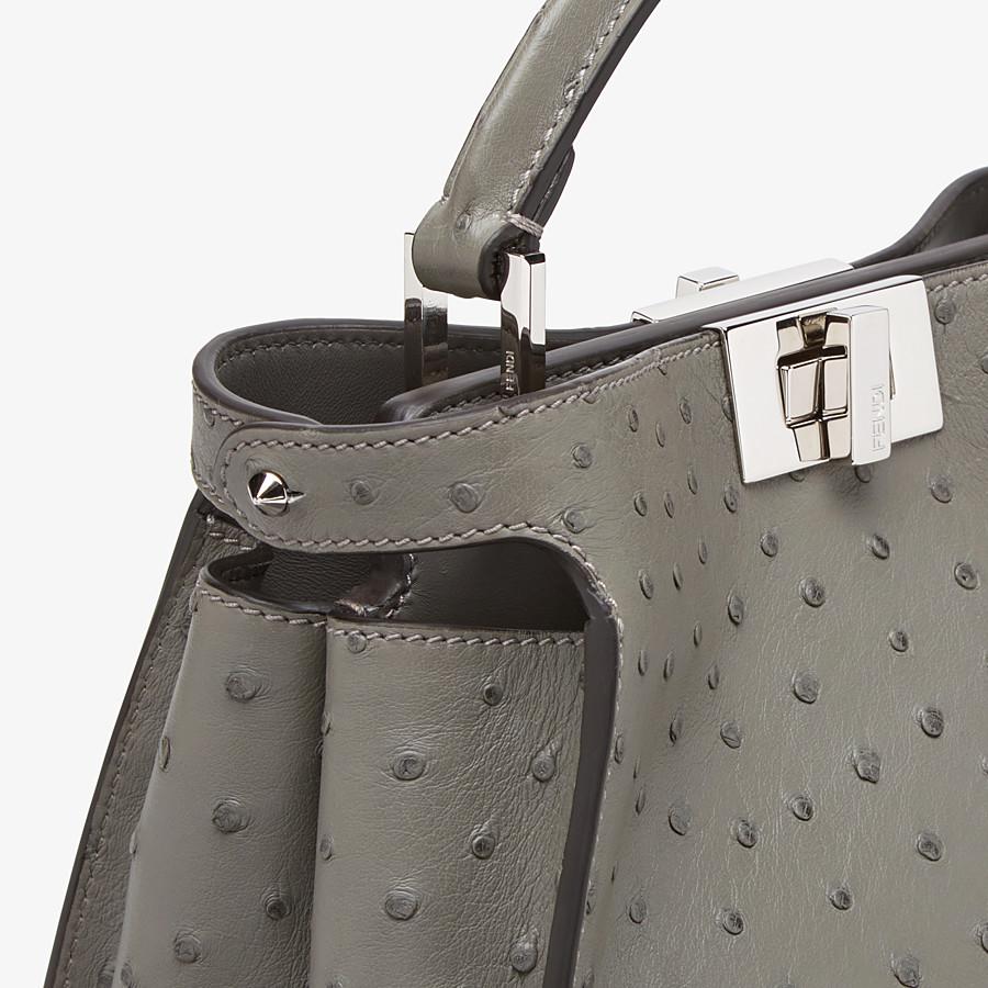 FENDI PEEKABOO ICONIC ESSENTIALLY - Grey ostrich leather bag - view 5 detail