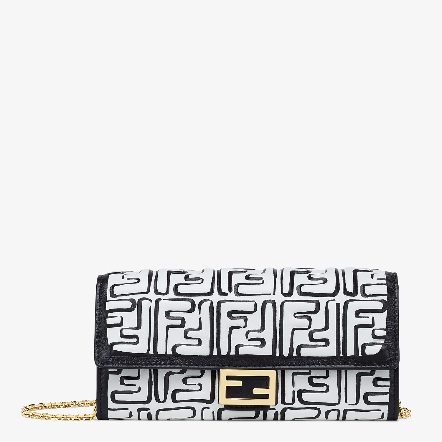 FENDI CONTINENTAL WITH CHAIN - White nappa leather wallet - view 1 detail