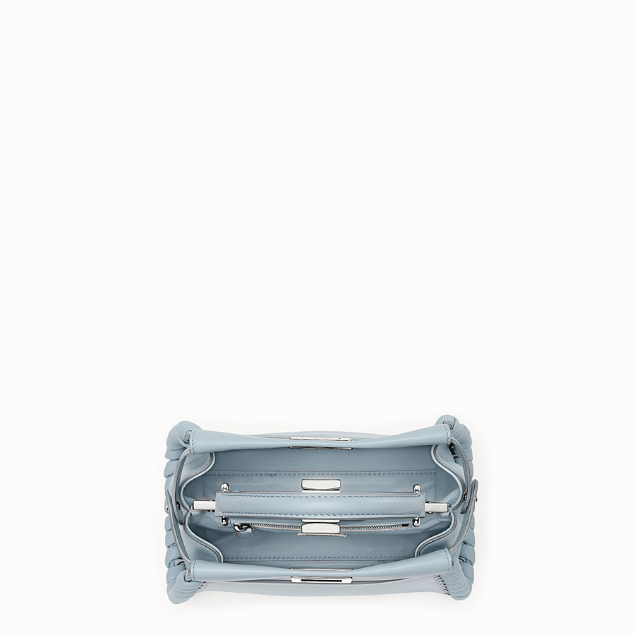 FENDI PEEKABOO MINI - Light blue nappa handbag with weaving - view 4 detail