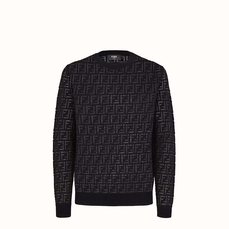 FENDI PULLOVER - Jumper in black nylon and wool - view 1 detail