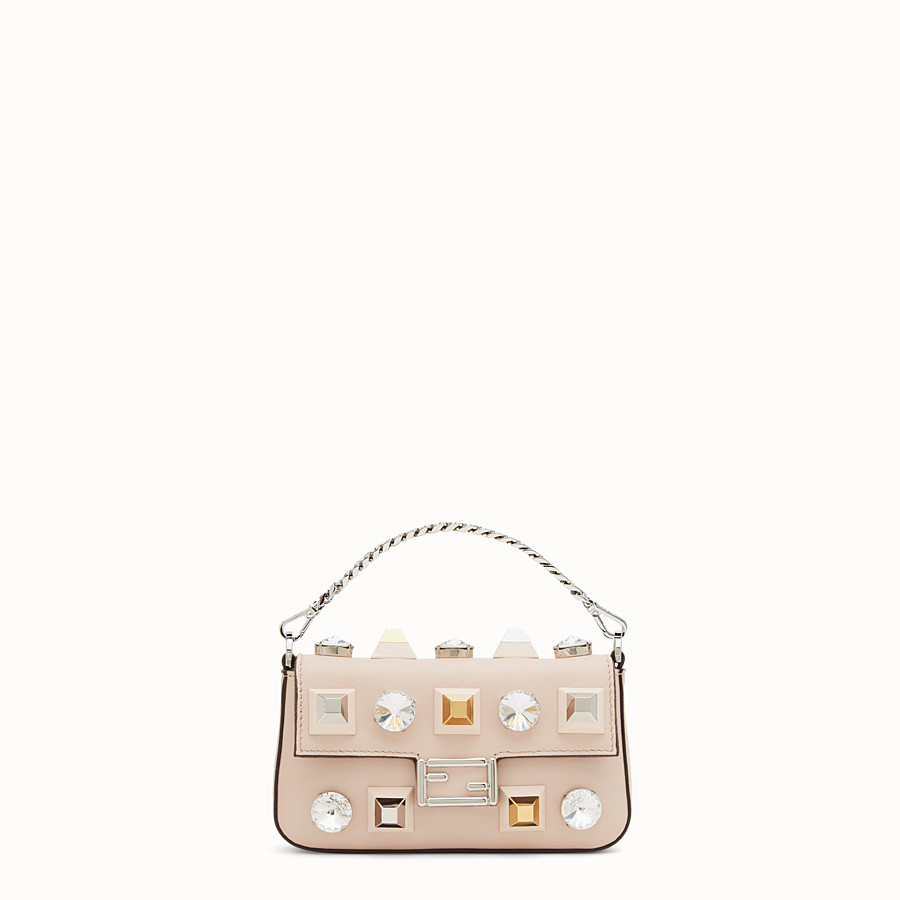 FENDI MICRO BAGUETTE - Microbag in pink leather with studs - view 1 detail