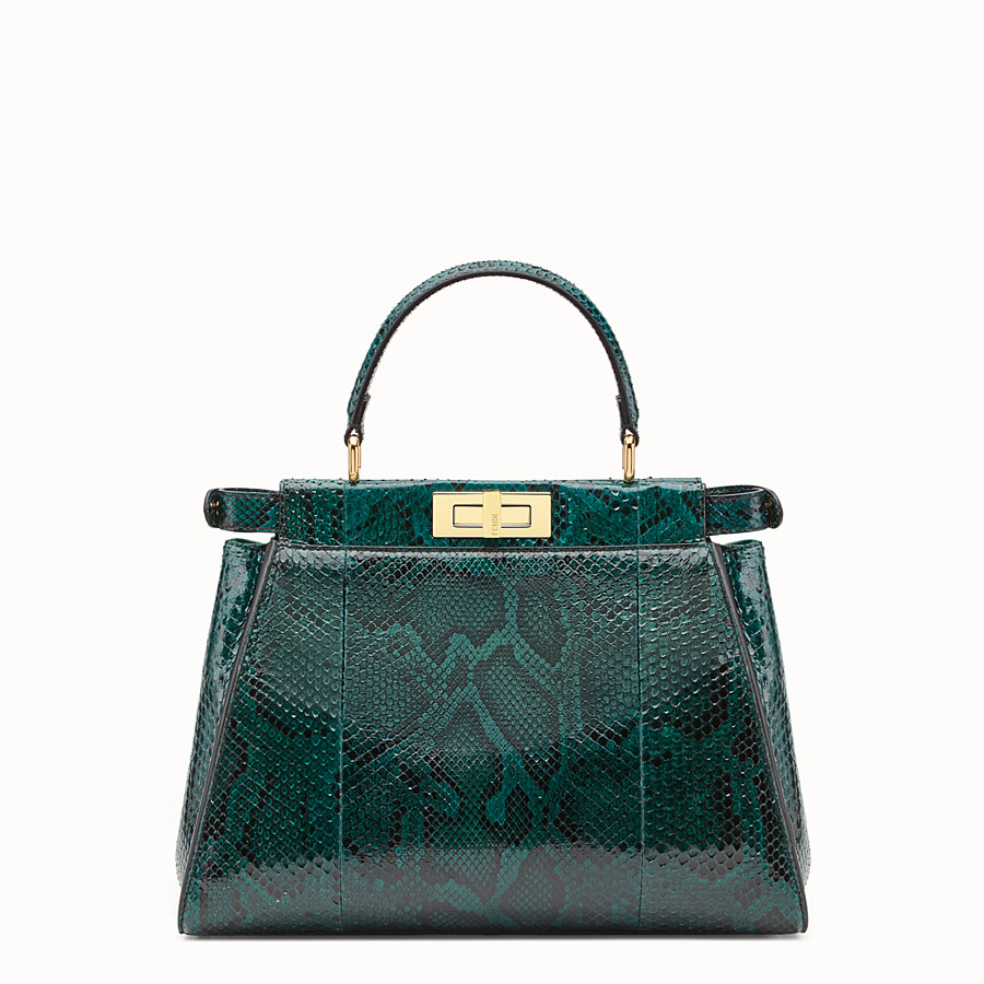 FENDI PEEKABOO REGULAR - Green python handbag. - view 3 detail