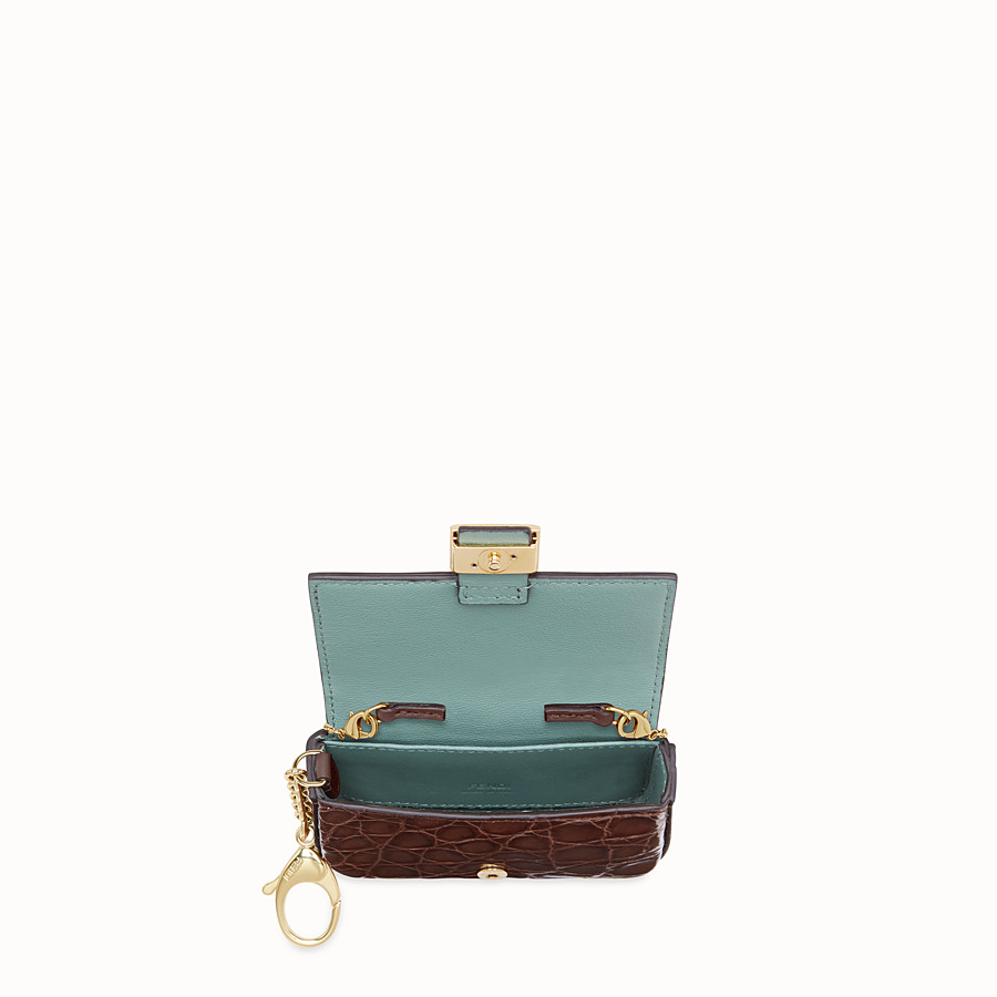FENDI MICRO BAGUETTE - Brown cayman charm - view 4 detail