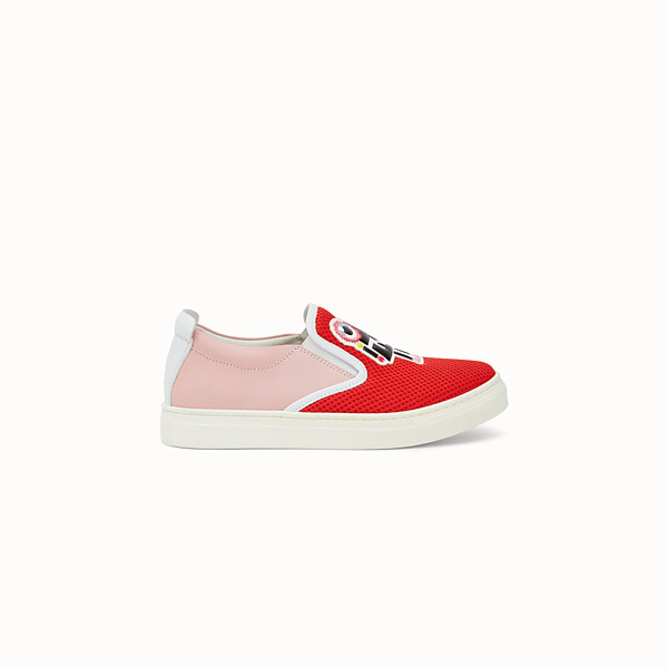 FENDI SNEAKERS - in red  and  pink technical mesh and nubuck with comic graphics - view 1 small thumbnail