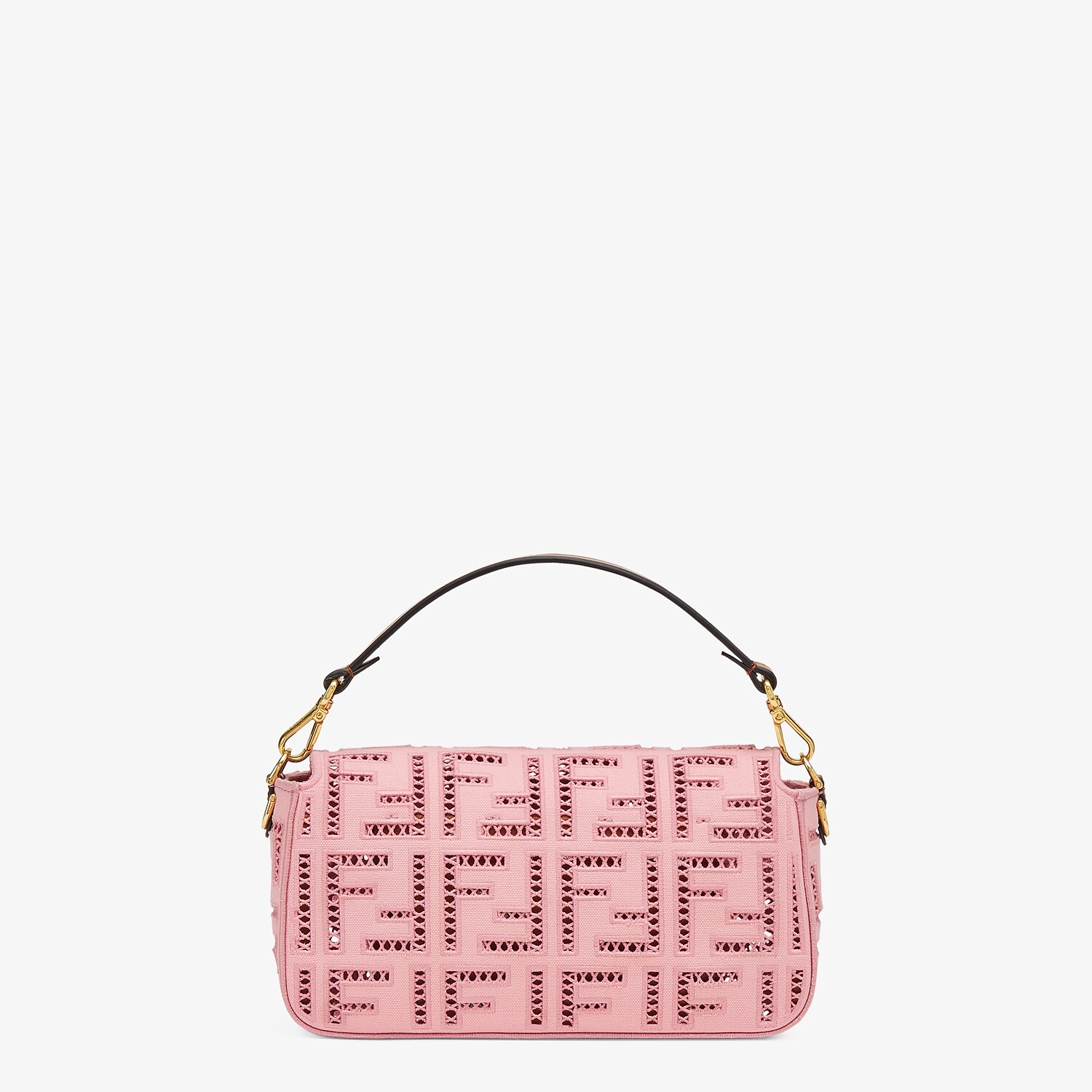 FENDI BAGUETTE - Pink canvas bag with embroidery - view 4 detail