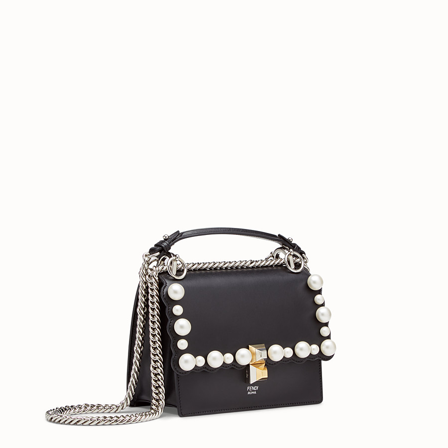 FENDI KAN I SMALL - Black leather mini-bag - view 2 detail