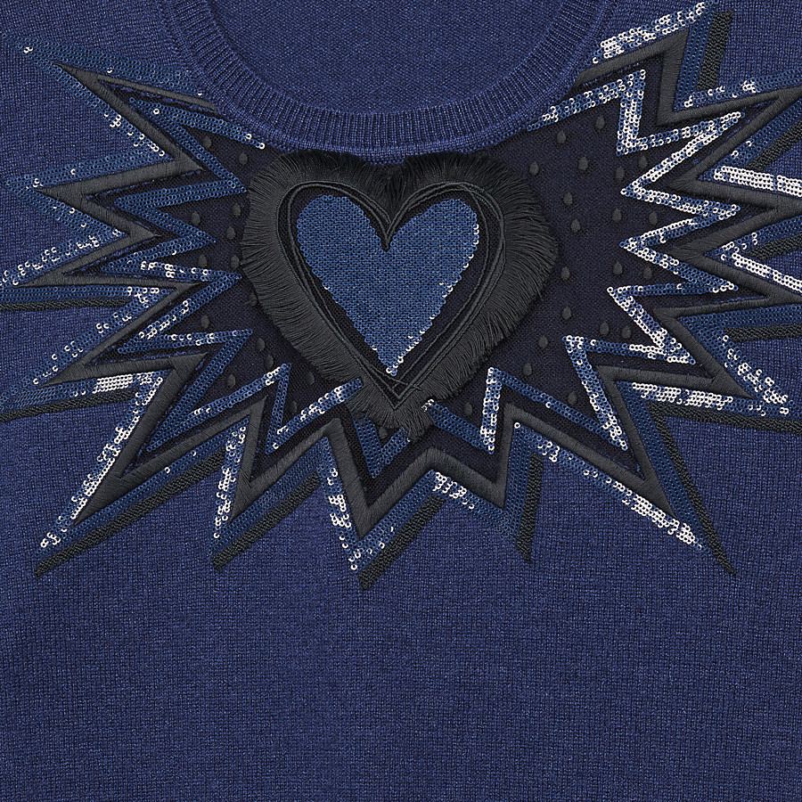 FENDI JUMPER - Blue cashmere and silk jumper - view 3 detail