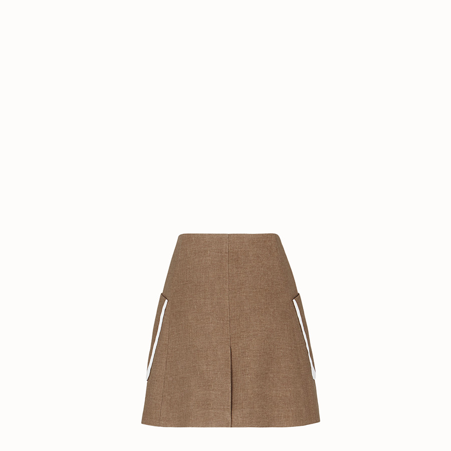 FENDI SKIRT - Beige silk and wool skirt - view 2 detail