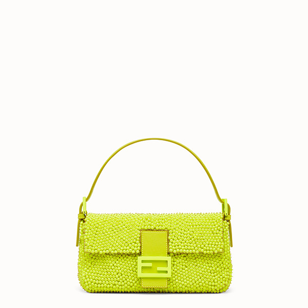 FENDI BAGUETTE - citron yellow shoulder bag decorated all over - view 1 small thumbnail