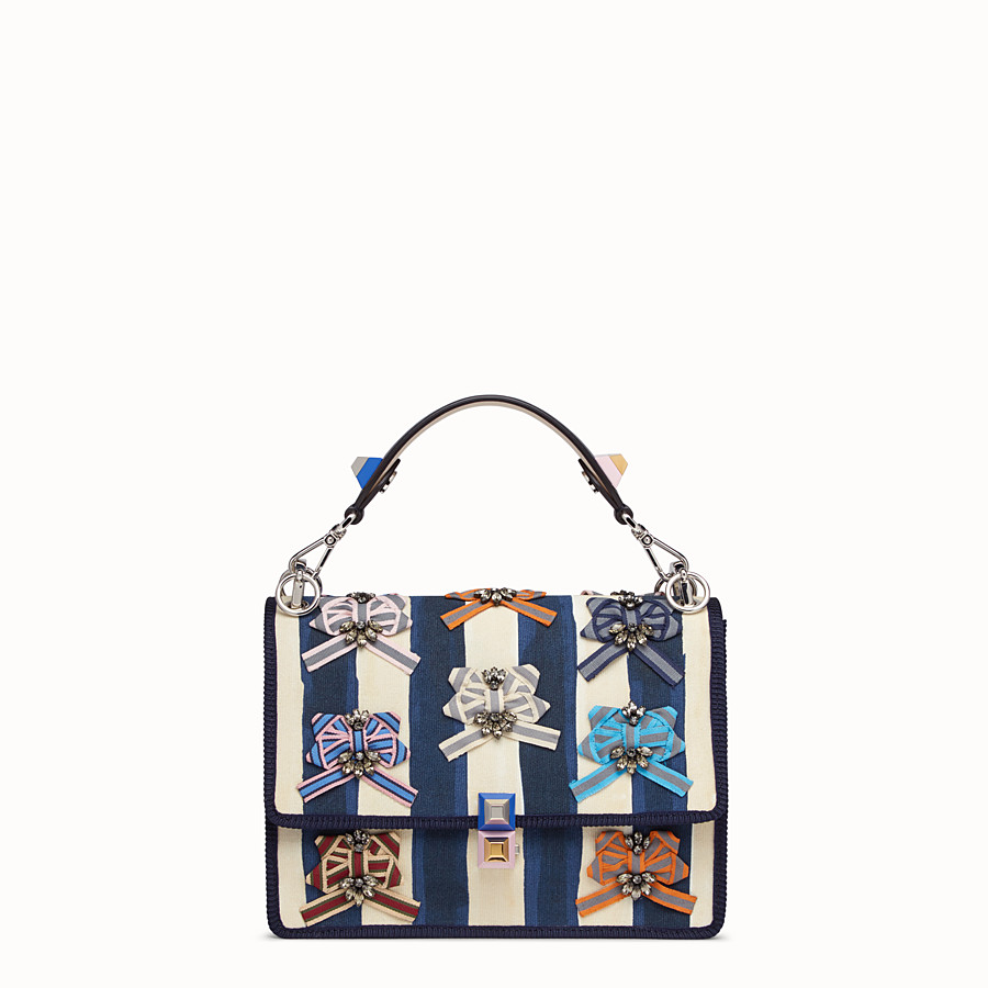 FENDI KAN I - Bag in striped fabric and bows - view 1 detail