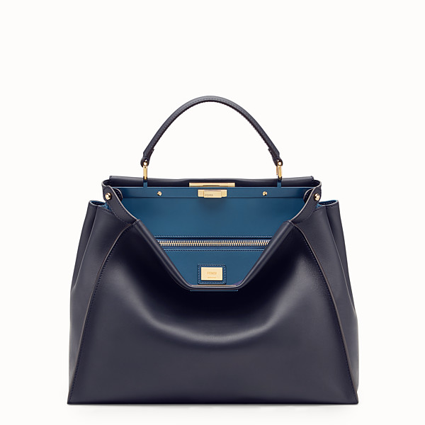 FENDI PEEKABOO LARGE - Blue leather bag - view 1 small thumbnail