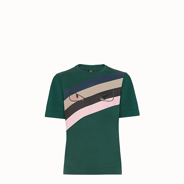 FENDI T-SHIRT - Green cotton T-shirt - view 1 small thumbnail