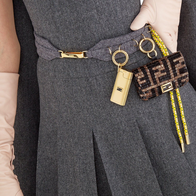 FENDI NANO BAGUETTE CHARM - Charm with brown beads - view 5 detail