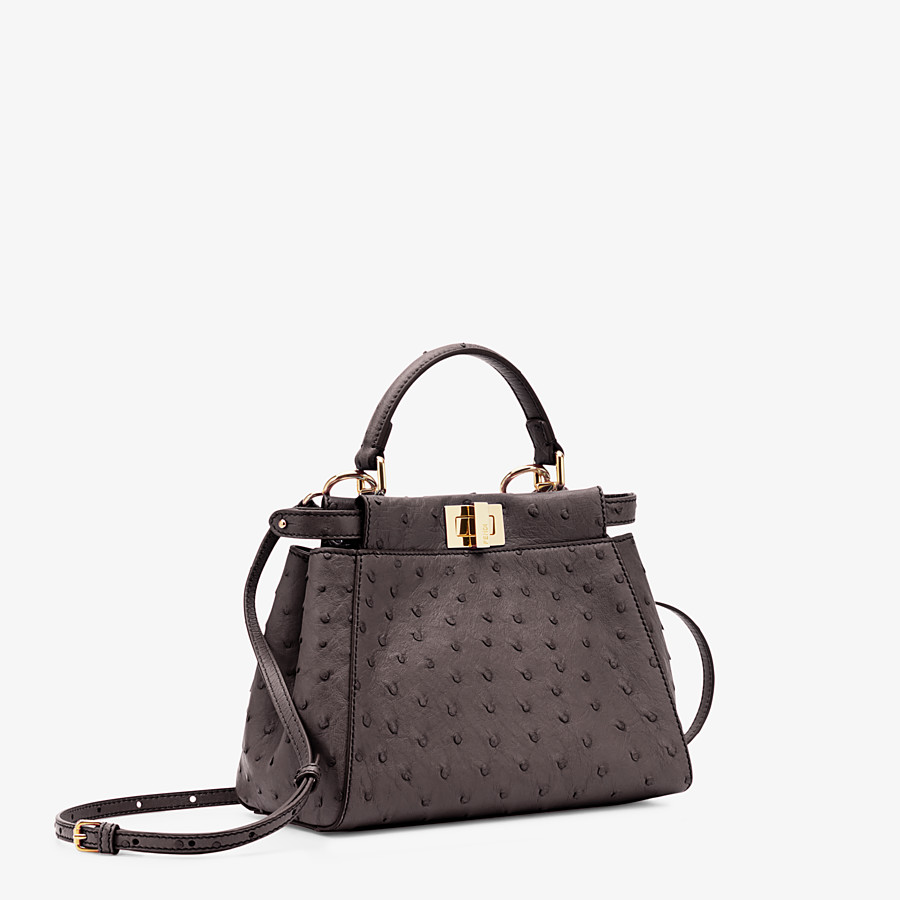 FENDI PEEKABOO ICONIC MINI - Brown ostrich leather bag - view 2 detail