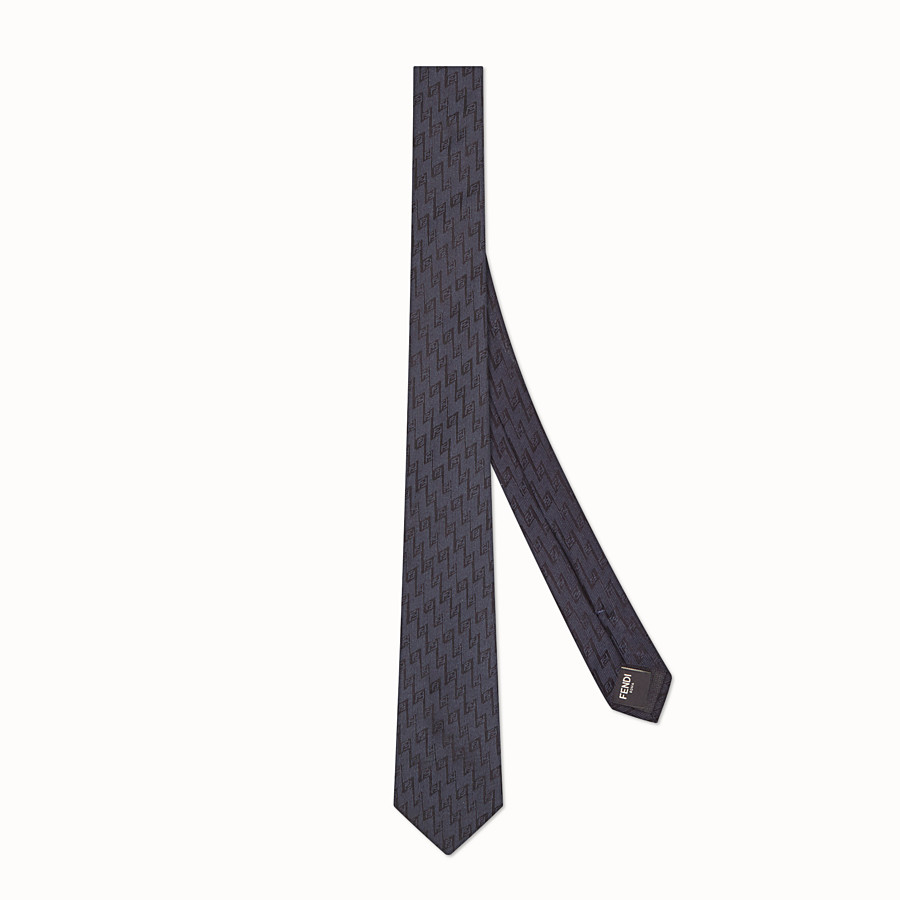 FENDI TIE - Blue silk necktie - view 1 detail