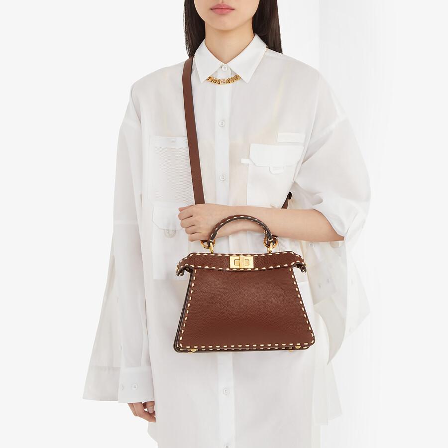 FENDI PEEKABOO ISEEU SMALL - Brown full grain leather bag - view 2 detail
