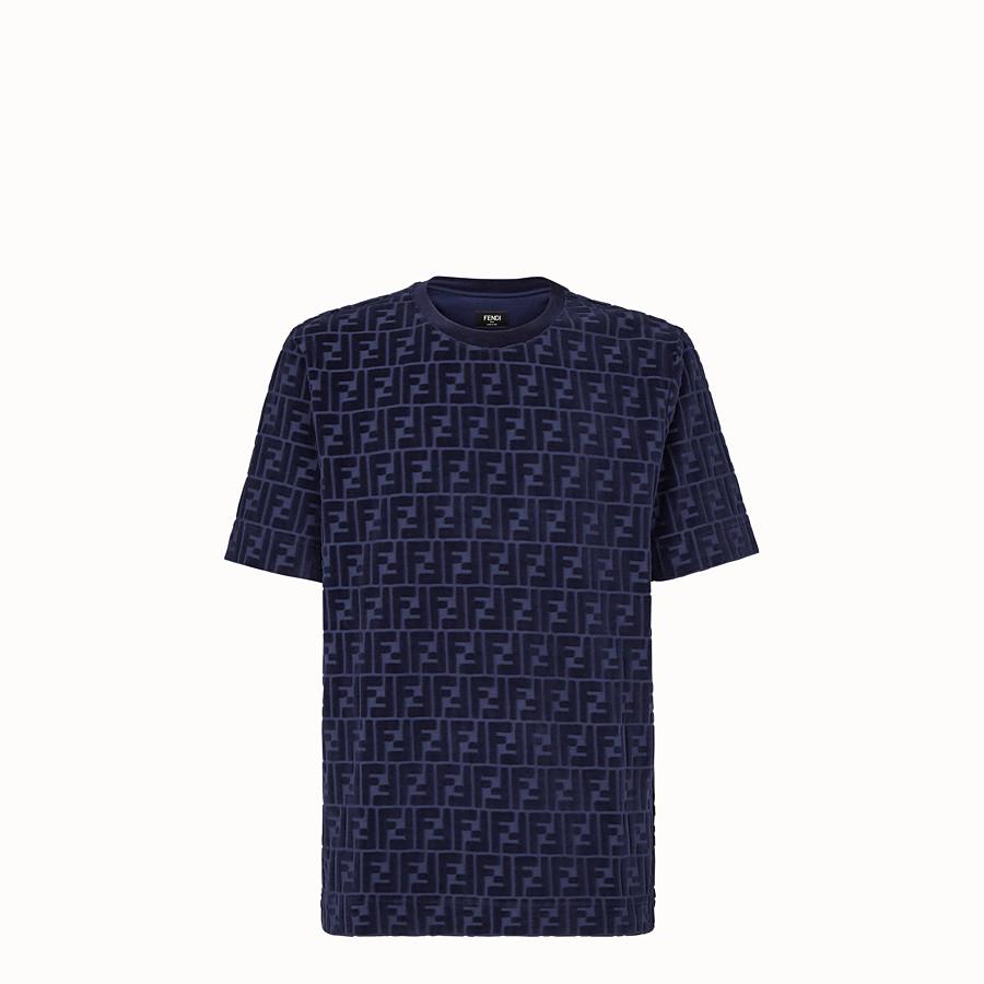 FENDI T-SHIRT - T-Shirt aus Chenille in Blau - view 1 detail