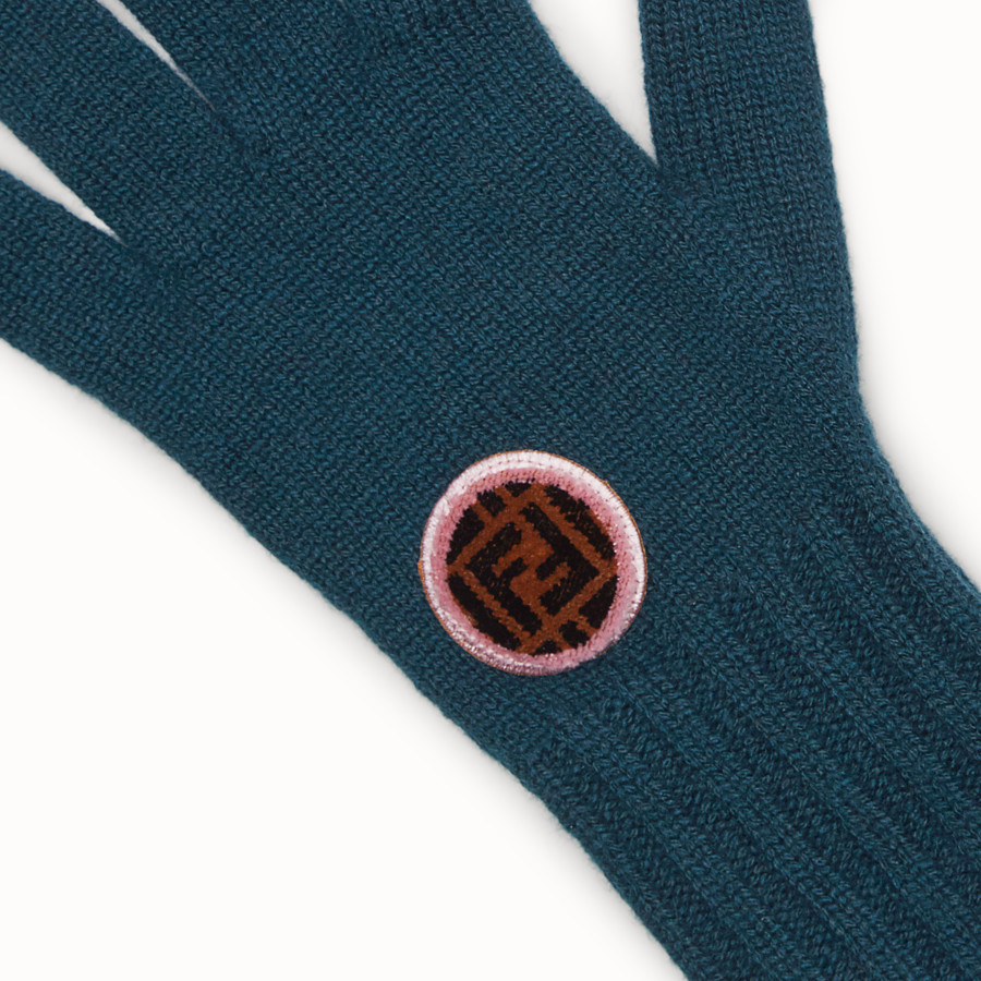 FENDI GLOVES - Green wool and cashmere gloves - view 2 detail