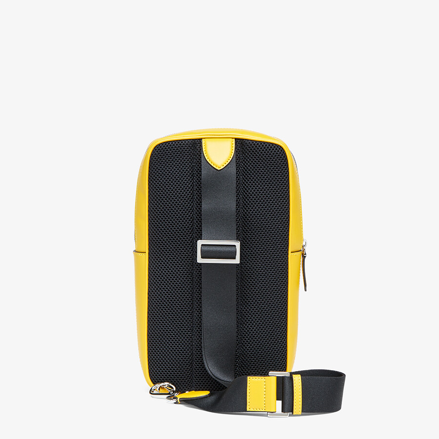 FENDI ONE-SHOULDER TRAVEL BACKPACK - Yellow leather backpack - view 3 detail