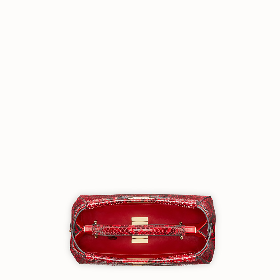FENDI PEEKABOO MINI - Red python handbag. - view 4 detail
