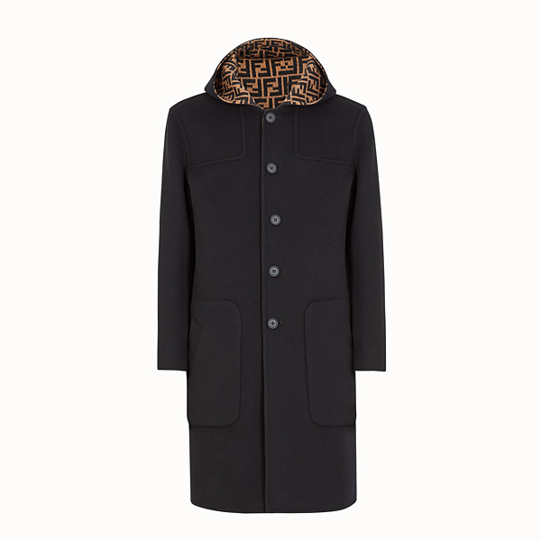 FENDI DUFFEL COAT - Blue wool coat - view 1 small thumbnail
