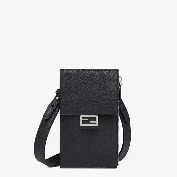 Black leather mobile phone holder
