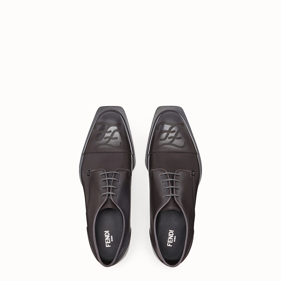 FENDI LACE-UPS - Grey leather lace up - view 4 detail