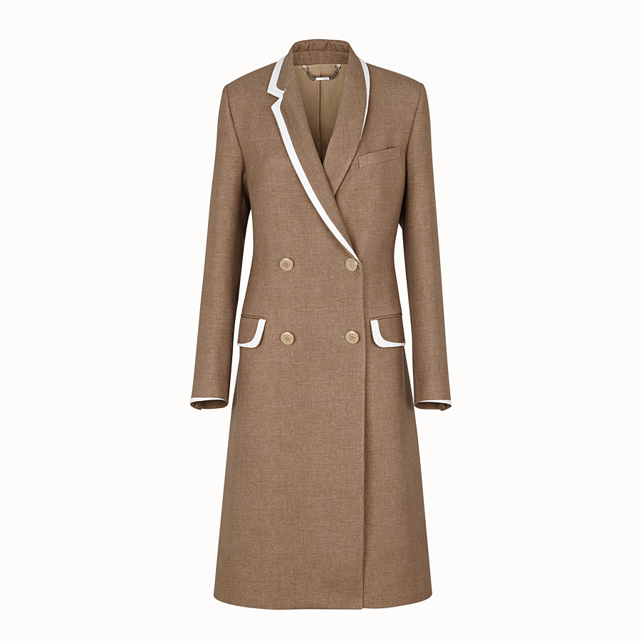 FENDI COAT - Beige silk and wool coat - view 1 detail